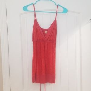 Ella Moss red printed top with wooden beads